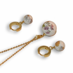 "4-9078-e8 Stainless with Gold Plating Ceramic Art Ball. Earring, necklace and pendant set. 18"" necklace with 16mm pendant."