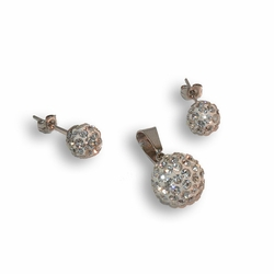 4-9084-e8 Stainless Fireball Earring and Pendant Set. Earrings are 8mm and pendant is 12mm.
