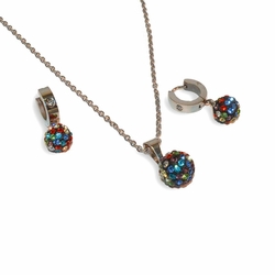 "4-9086-e8 Stainless Multicolor Fireball Set. Includes 18"" necklace, huggie hoop earrings and 12mm pendant."