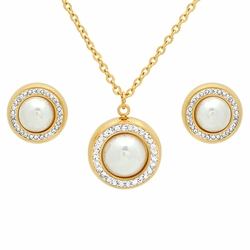4-9097-e10 Stainless Gold Plated Pearl Earring and Pendant and Necklace Set. 14mm Earrings, 16mm Pendant, necklace 18""