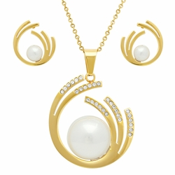 """4-9103-e110 Stainless Gold Plated Pearl Earring and Pendant Set. 16mm Earrings, 30mm Pendant. *Chain not included"""""""