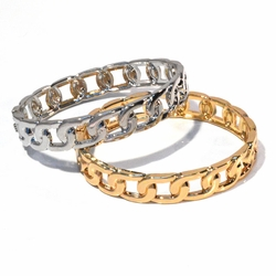 "LBAN-FN-F1 Fashion Chain Link Bangles, Spring Open and Close, 11mm wide, 2.5"" diameter (standard),"