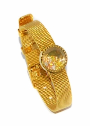 MBAN-SS-728-D1-GLD Ladies Gold Plated Stainless Steel Bangle Bracelet