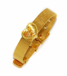 MBAN-SS-728-D3-GLD Ladies Gold Plated Stainless Steel Bangle Bracelet