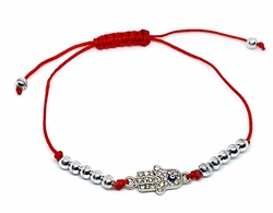 MBRA-FS-1201-F1012 18kt Brazilian Gold Layered Red String Bracelet with Hamsa Hand and Tiny Evil Eye. Steel Bead Accents.