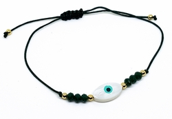 MBRA-FS-1201-F12 Adjustable Fashion Green String Evil Eye Bracelet with Faceted Beads.