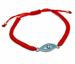MBRA-FS-1201-F412 Adjustable Fashion Red String Evil Eye Bracelet with Turquoise Blue Stones.