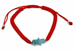 MBRA-FS-1201-F612 Adjustable Fashion Red String Bracelet with turquoise Blue Hamsa Hand.