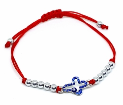 MBRA-FS-1201-F812 Adjustable Fashion Red String Bracelet with Blue Cross and Evil Eye. Accented with White Steel Beads.