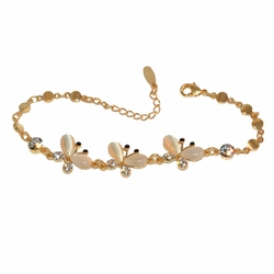 "1-0636-1-f1 Gold Plated Butterfly Bracelet, 6.5"" to 7.5"" adjustable length,"