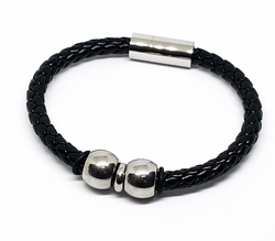 mbra-ss-1018-f10 316l Stainless Steel Black Leather Bracelet with Large Magent Lock. 8 inch.