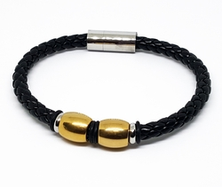 mbra-ss-1018-f510 316l Stainless Steel Two ToneBlack Leather Bracelet with Large Magent Lock. 8 inch.