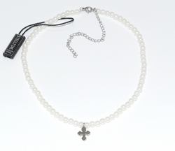 MNC-SS-628-F6 Stainless Steel Pearl Stretch Necklace with Cross. Adjustable length.