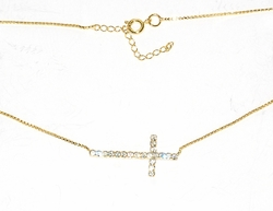 MNEC-GF-01-D1 Sideways Cross Necklace