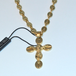 mnec-ss-220-e6 Gold Plated Steel Crusifix and Buffed Gucci Chain