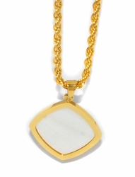MNEC-SS-728-D1-GLD Gold Plated Stainless Steel Necklace (Mother pof Pearl)