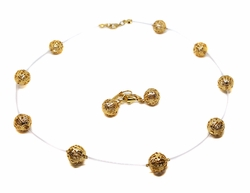 MSET-GF-02-01-F9 18kt Brazilian Gold Layered Floating Balls Necklace and Earrings Set. 18 inch necklace, 11mm balls.