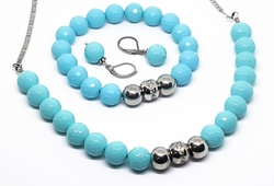 "mset-ss-1026-f10 Stainless Steel Faceted Turquoise Beads Necklace (18inch), Earring (1"") and (stretch) Bracelet  Set."