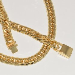 mset-ss-115-e2 Man Stainless Steel Cuban Link Set (w/Gold Plating)