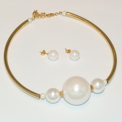 mset-ss-225-e5 Steel Gold Plated Pearl Set