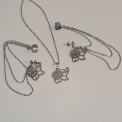 "MSET-SS-624-E1 Stainless Elephants Necklace and Earrings with Cuffs Set. 18"" chain. Available in 2 finishes."