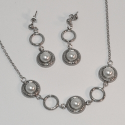 "MSET-SS-624-E6 Steinless Earring and Necklace Pearl Set. 16""-18"" adjustable necklace."