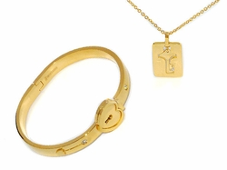 MSET-SS-728-D1-GLD Gold Plated Stainless Necklace and Bangle Set (Opens with Key)