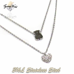 SSNEC-04-C1 Bear CZ Heart Double Necklace