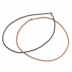 "SSNEC-1204-e12 Leather Cord Necklace with Stainless Steel Clasp. For both men and women. 2mm cord. Sizes 16""-20"". 2 colors."