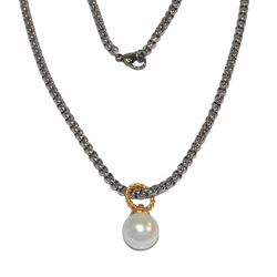 "ssnec-ss-1229-e15 Stainless, neckalce and pendant set, pearl pendant, gold plated bail, 18"" chain, 12mm pearl,"