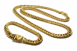 STG-CubanSet-01-f8 Gold Layered Over Stainless Steel Thick 11mm Cuban Link Set. Chain is 30 inches and bracelet is 9 inches.