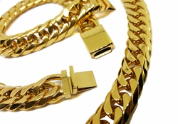 STG-CubanSet-02-f8 Gold Layered Over 316L Stiainless Steel Thick 14mm Cuban Link Set. Chain is 30 inches and bracelet is 9 inches.