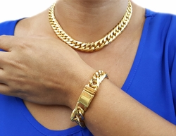 STG-WMN-01-F9 Gold Layered Over Stainless Steel Thick Curblink Chocker Necklace with Matching Bracelet. 14mm wide. Necklace 17 inch and Bracelet 7 inch.