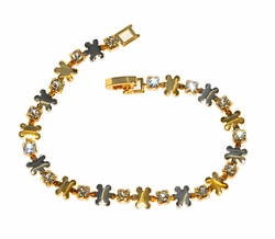 Two Tone Flower Bracelet with Crystals