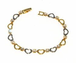 Two Tone Hearts Bracelet with Crystals