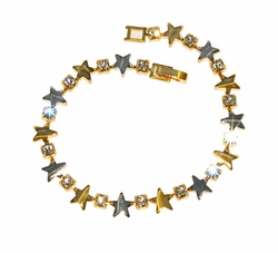 Two Tone Star Bracelet with Crystals