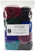 100% Wool Roving 12in Assorted Dark
