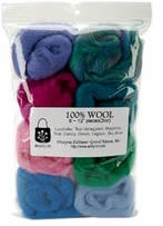 100% Wool Roving 12in Assorted Jewel