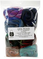 100% Wool Roving 12in Assorted Variegated