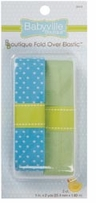 Babyville Boutique Fold Over Elastic Blue with Dots & Solid Green