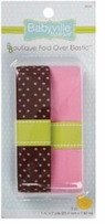 Babyville Boutique Fold Over Elastic Brown with Dots & Solid Pink