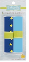 Babyville Boutique Fold Over Elastic Dark Blue, Yellow Stars