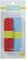 Babyville Boutique Fold Over Elastic Red with Dots & Solid Blue