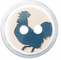 ButtonTHIS Novelty Buttons 1in Blue Rooster 4/Pkg