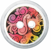 ButtonTHIS Novelty Buttons 1in Pink Psychadelic 4/Pkg