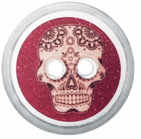 ButtonTHIS Novelty Buttons 1in Purple Skull 4/Pkg