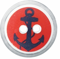 ButtonTHIS Novelty Buttons 1in Red Anchor 4/Pkg