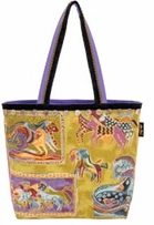 Canvas Square Tote W/Zipper Top 19 1/2inX1inX16in Mythical Horses
