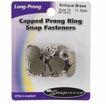 Capped Long Prong Snaps Size 24 Antique Brass