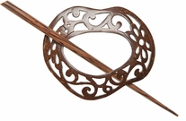 Coconut Shawl Pin Scrolled Freeform